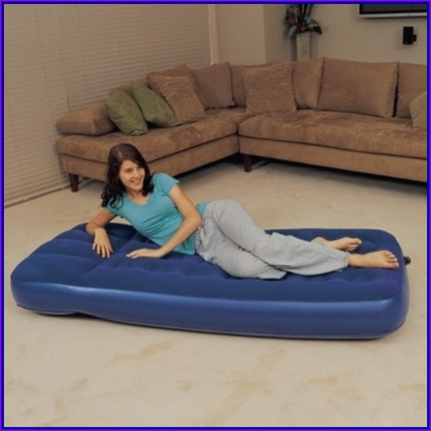 Kasur Angin Twin Beds Bestway Flocked Air Bed Twin 67001