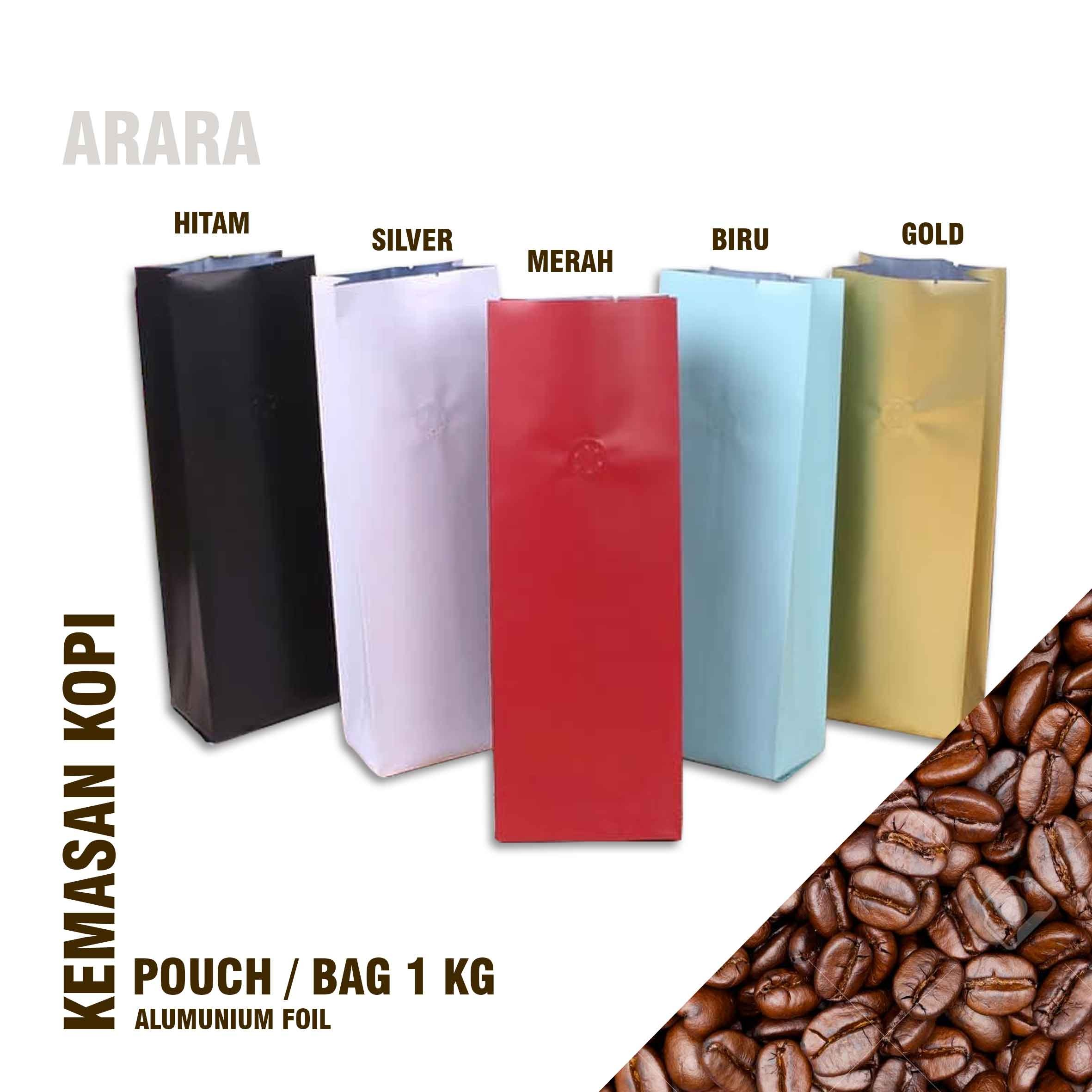 Kemasan Kopi 1000gr Flat Bottom Valve Alumunium foil 1kg Standing Pouch