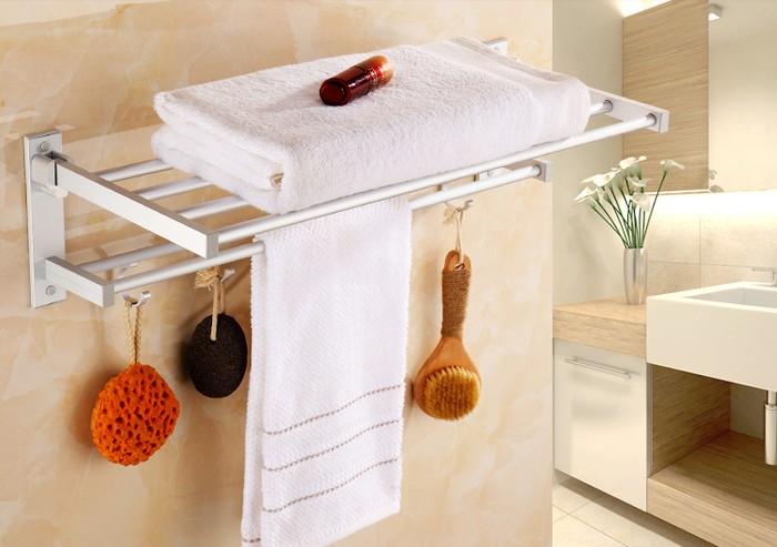 Rak Dinding Toilet / Gantungan Handuk Alumunium / Gantungan Baju Serbaguna