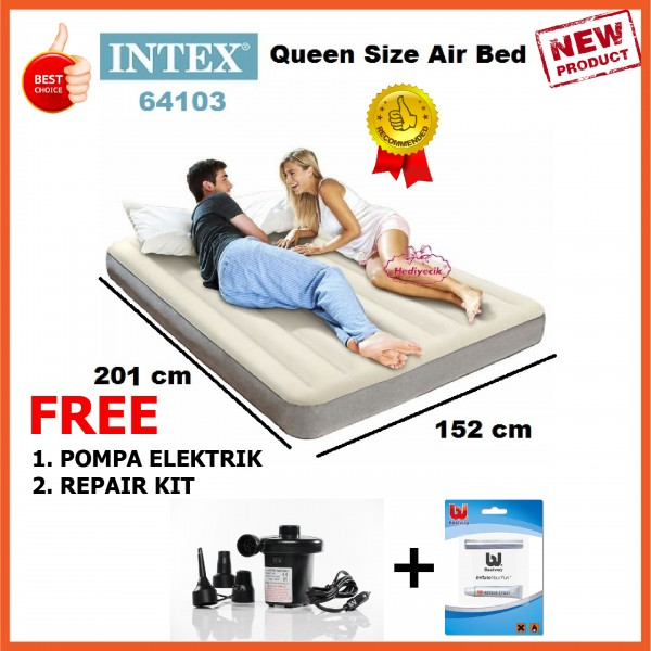 Kasur Angin Intex Durabeam Tech Single High Queen Bonus Pompa dan Repair Kit