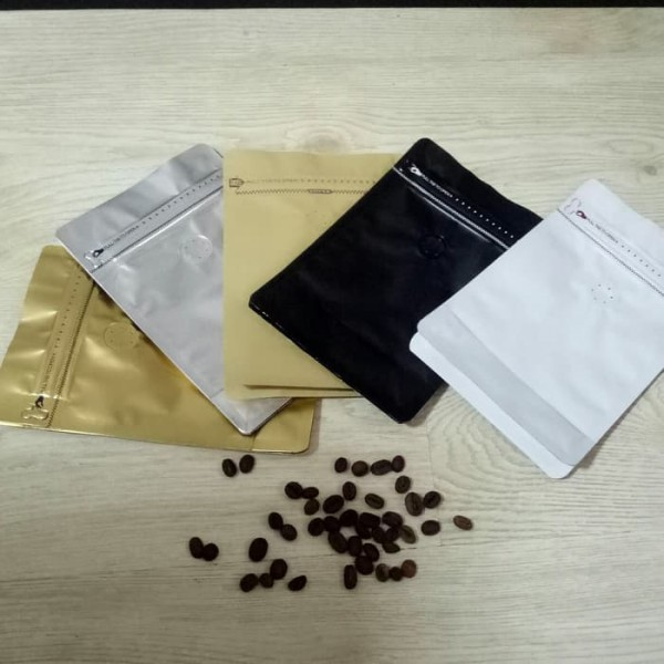 Kemasan Kopi 250g Flat Buttom Zipper and Valve Tebal