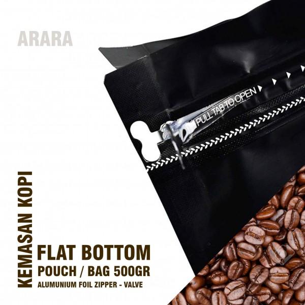 Kemasan Kopi 500gr Flat Bottom Zipper Valve Alumunium foil Kualitas Bagus