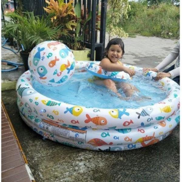 Kolam Renang Anak BONUS Bola dan ban Renang Fishbowl pool Intex 59469
