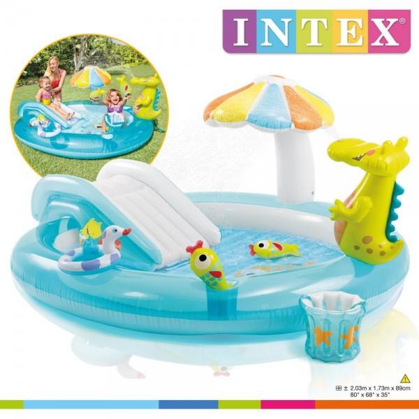 Kolam Renang Anak Dino  Seluncur Bonus Pelampung Intex 57129