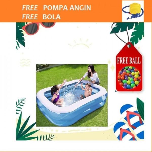 Kolam Renang Anak Squared Inflatable Kids Family Pool Free Pompa dan Bola Main