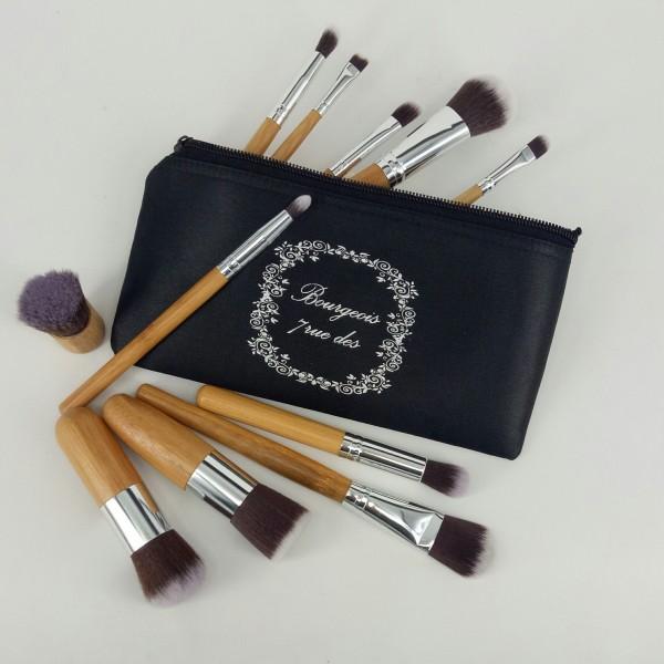 Makeup Brush 11 Free Pouch / Kabuki Kuas Makeup Kayu Brush Wood Profesional