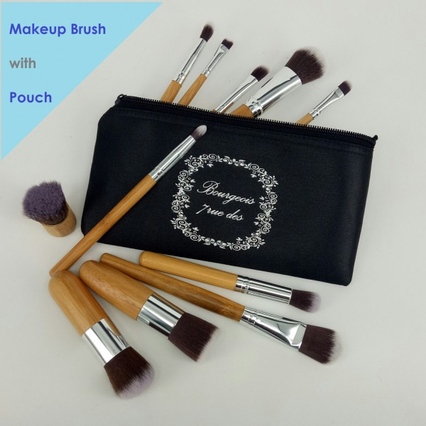 Makeup Brush 11 Free Pouch / Kabuki Kuas Makeup Kayu Brush Wood Profesional