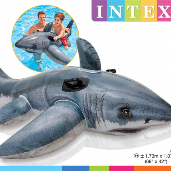 Pelampung Renang Hiu Putih Great White Shark Ride-On Intex