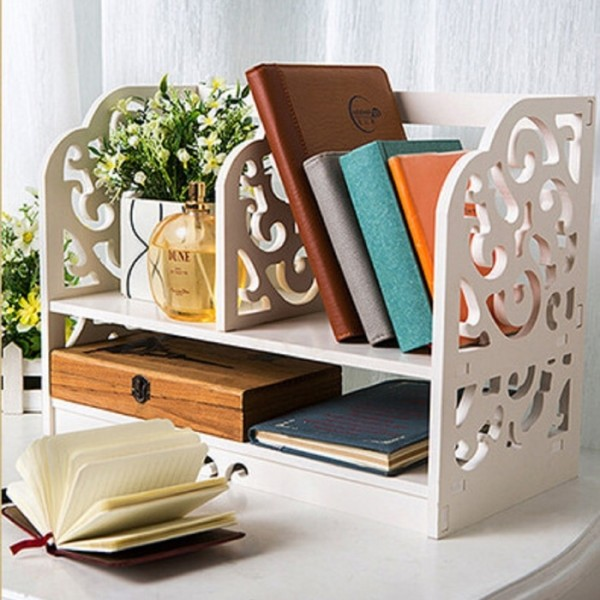 Rak Buku Kayu / Lemari Buku Diatas Meja Belajar atau Kantor