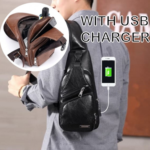 Tas Selempang Kulit With Charger USB / Sling Bag USB Charger Kulit PU Leather